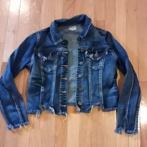 Distressed cropped jean jacket sz. Medium
